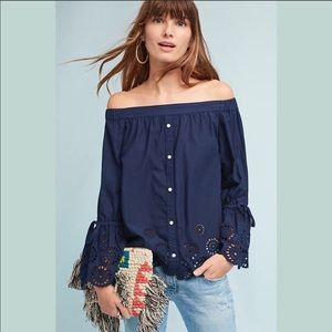 Anthropologie Isabella Sinclair Navy Lace Blouse